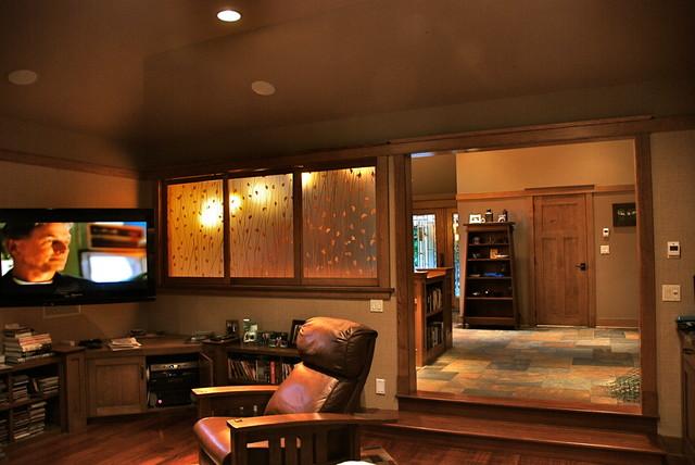 Huntington Bay Renovation, mid century ranch turns Prairie craftsman-family-room