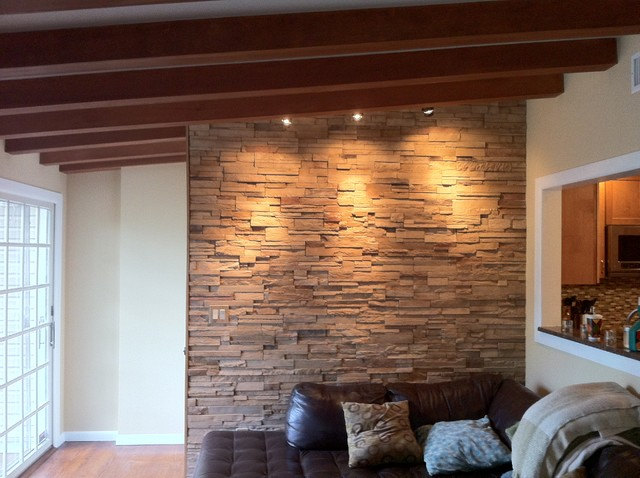 interior cultured stone contemporary family room newark by brick by brick pavers and