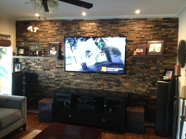 Interior Ledger Stone Wall Application Rustic Family