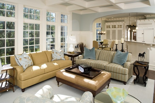 Example of a coastal family room design in Chicago