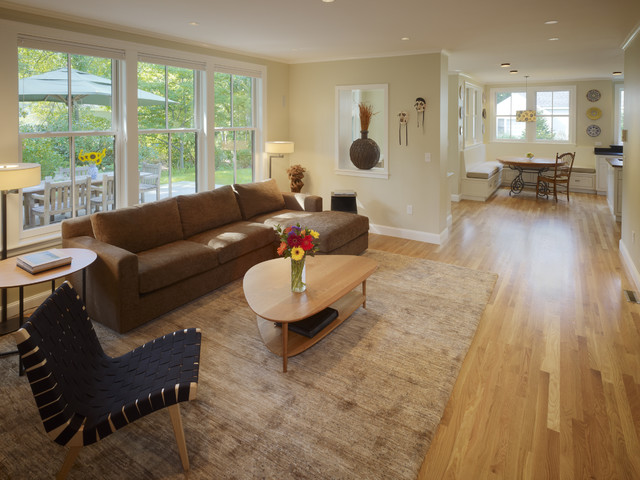 Inspiration For A Timeless Open Concept Medium Tone Wood Floor Family Room  Remodel In Boston With Part 93