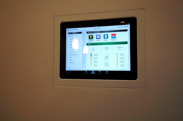 ipad in wall control panel contemporary family room