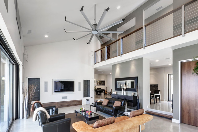 vaulted ceiling remodeling ideas - Isis Ceiling Fan Contemporary Family Room louisville