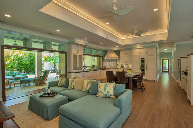 Island tranquility transitional family room for Archipelago hawaii luxury home designs