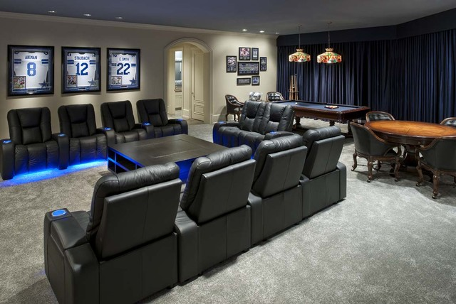 Example Of A Large Trendy Enclosed Carpeted Family Room Design In Dallas With Beige Walls