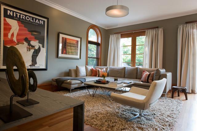 Contemporary Family Room by jamesthomas, LLC