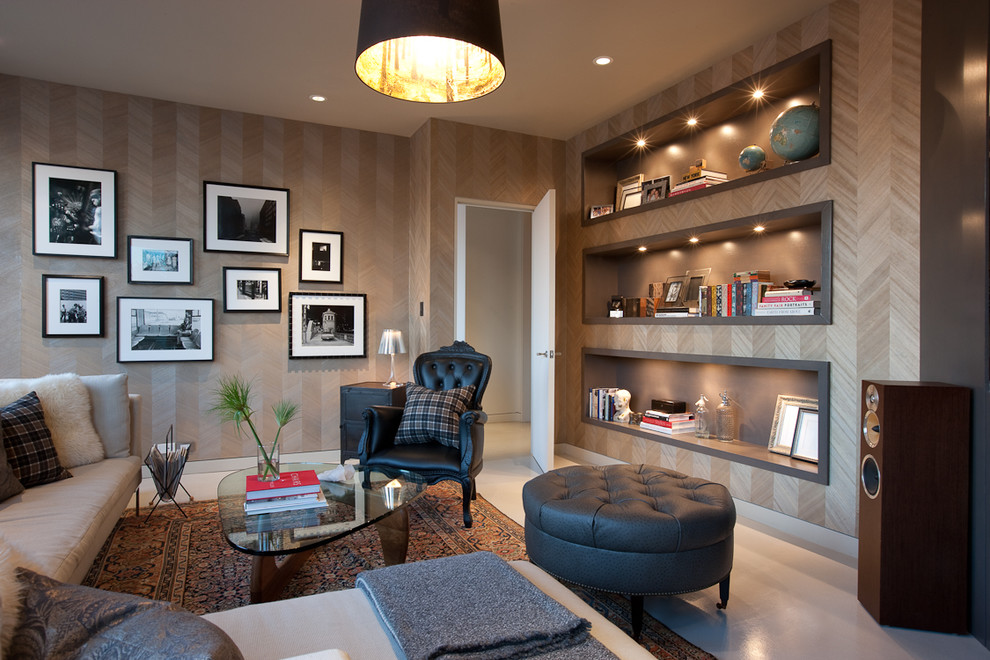Inspiration for a transitional enclosed family room remodel in Chicago with beige walls