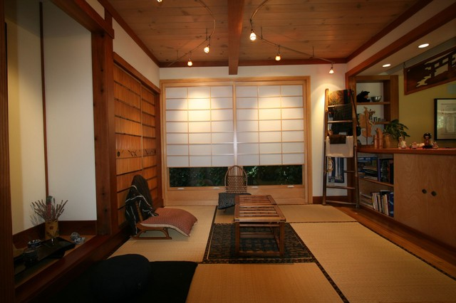Japanese tea room asian family room san francisco for Living room japanese style