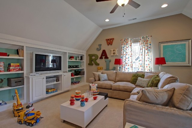 John wieland homes the donaldson traditional family for Playroom living room ideas