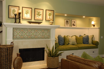 traditional family room design by los angeles interior designerjoni koenig interiors: storage bench for living room