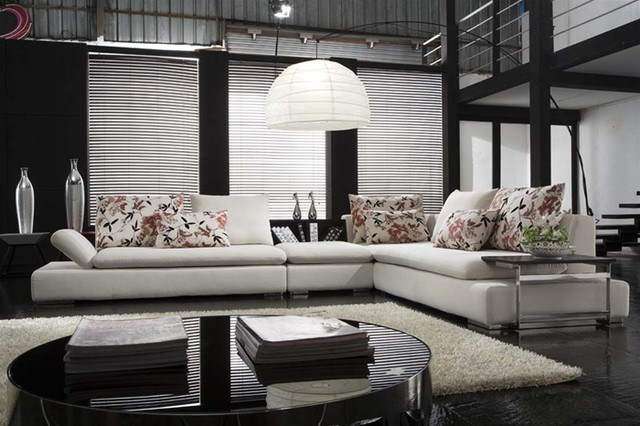 Kaine Modern Leather Sectional - $1699.99 - Contemporary - Family ...