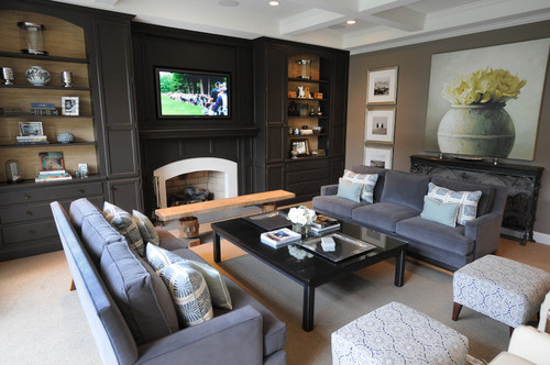 Can You Please Tell Me The Paint Color Of The Built Ins - Black wall behind tv