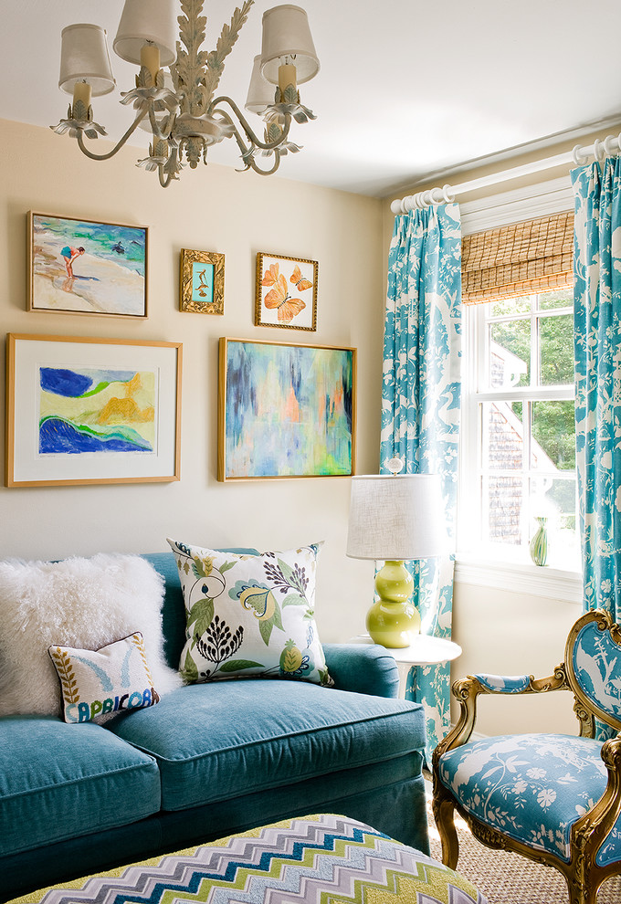 Example of a transitional family room design in Boston with beige walls