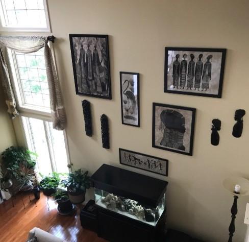 Kenya Art Global Transitional Family Room