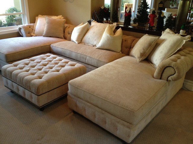 Kenzie Style Chesterfield Custom Sectional Sofas American Traditional Family Room