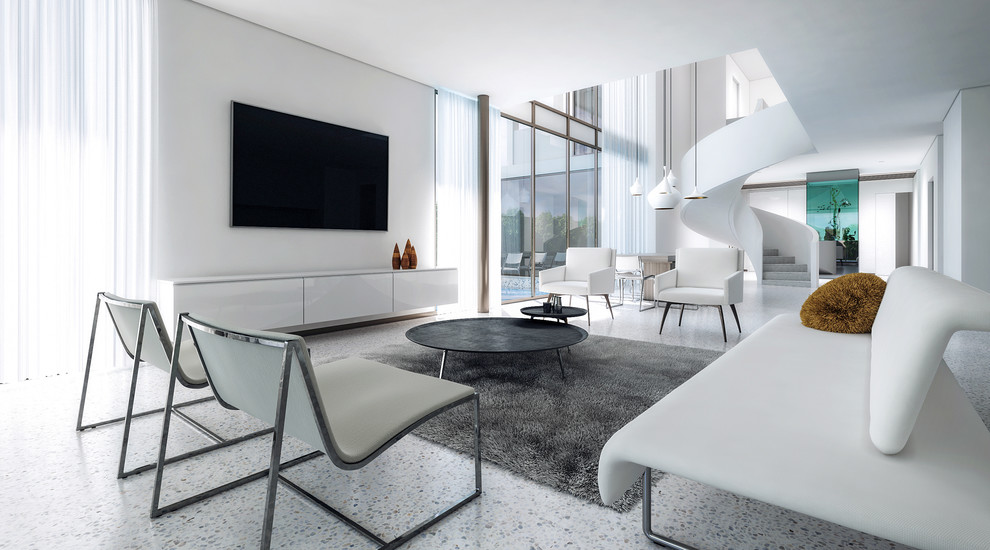 Family room - large modern concrete floor and white floor family room idea in Melbourne with white walls, no fireplace and a wall-mounted tv