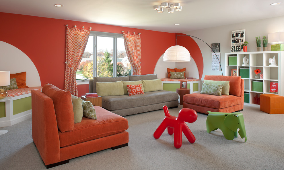Inspiration for a contemporary carpeted and beige floor family room remodel in Detroit with orange walls