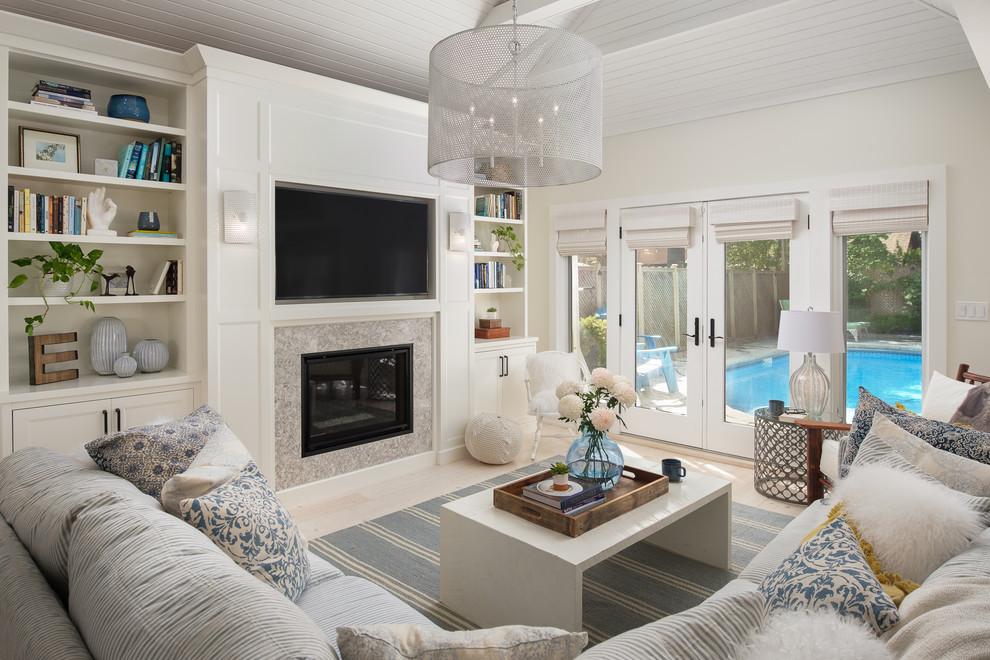 Family room - coastal family room idea in Toronto
