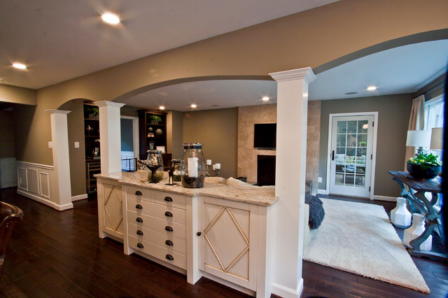 Kitchen Family Room Transition Traditional