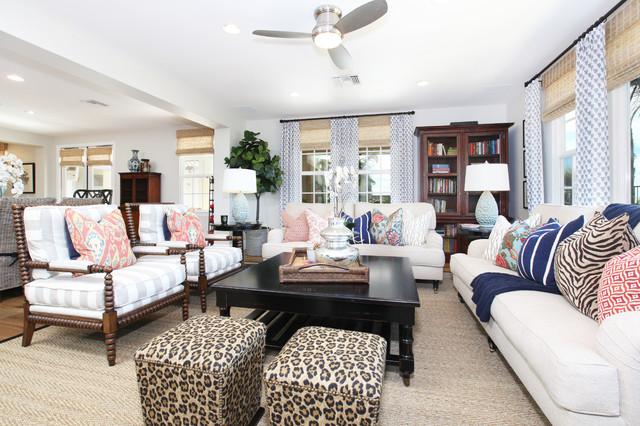 Elegant family room photo in San Diego