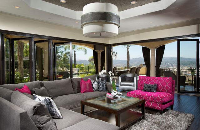 Inspiration For A Contemporary Dark Wood Floor Family Room Remodel In  Orange County With Beige Walls Part 69