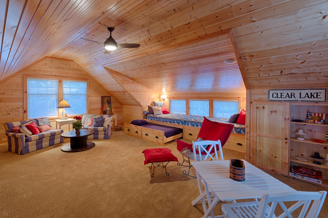 Example of a mid-sized coastal carpeted and beige floor family room design in Other