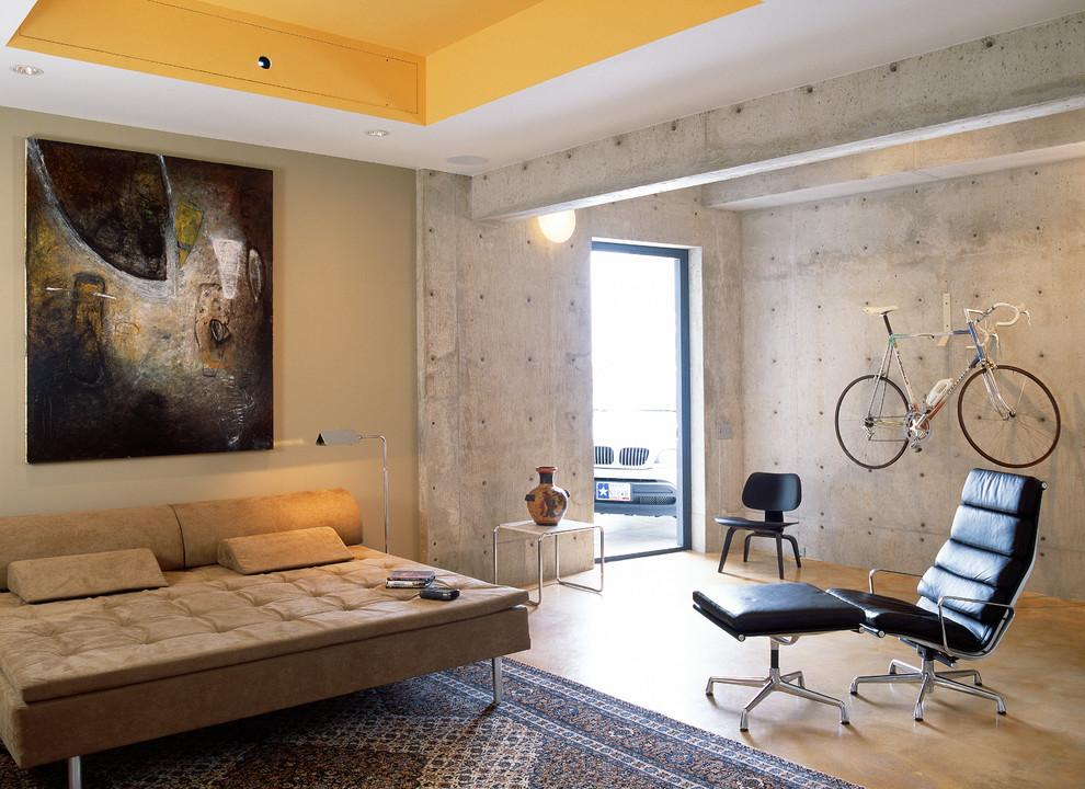 Example of a minimalist concrete floor family room design in Austin