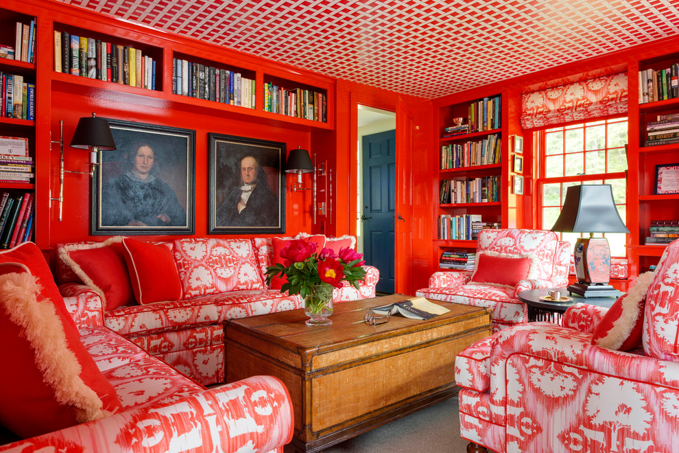 Example of a small eclectic enclosed family room design in Burlington with red walls