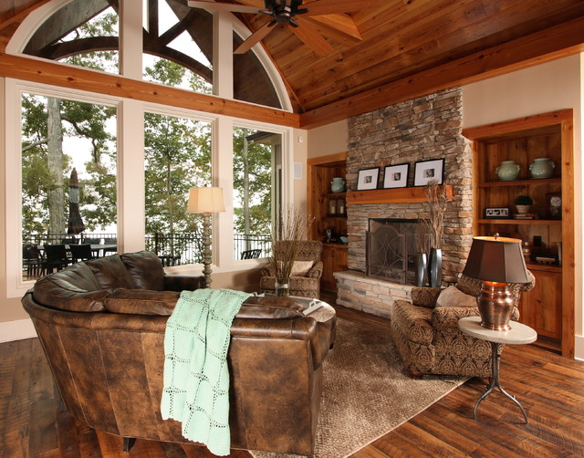 Lake House Interior Design Ideas traditional family room decor for lake house interior design with plaid rug and ceiling fan creative Example Of A Classic Family Room Design Saveemail Southern Studio Interior Design 20 Reviews Lake House