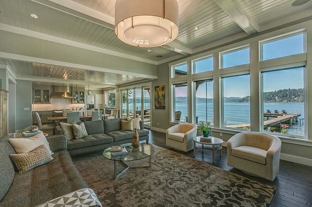 Example of a trendy family room design in Seattle
