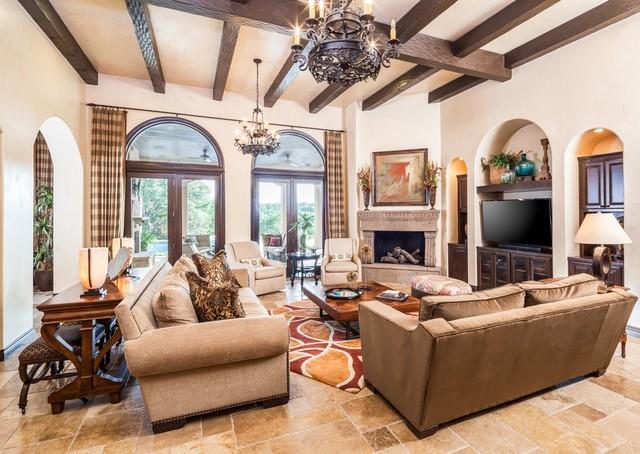 Lake Travis Casa Mediterranean Living Room