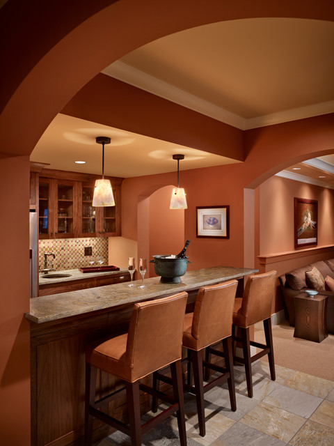 Lakeside Lookout Media Room and Bar mediterranean-family-room