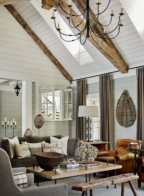 Lakeside Rustic: Lake Keowee family-room
