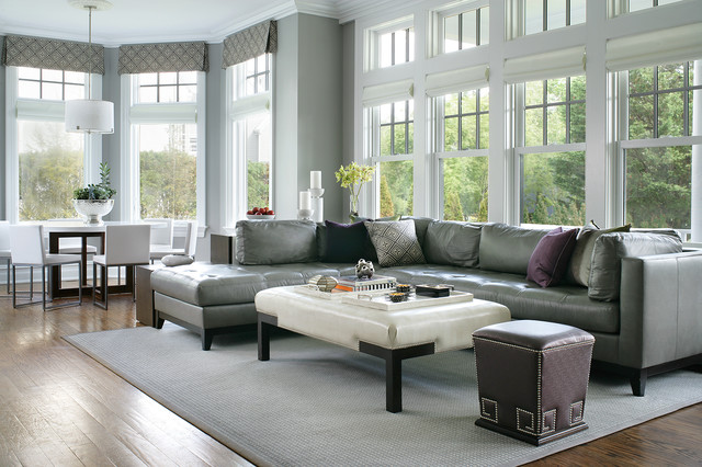 Example Of A Large Transitional Open Concept Dark Wood Floor Family Room  Design In New York