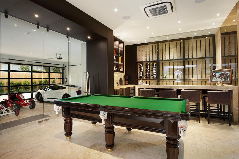 Huge trendy open concept game room photo in Melbourne with beige walls