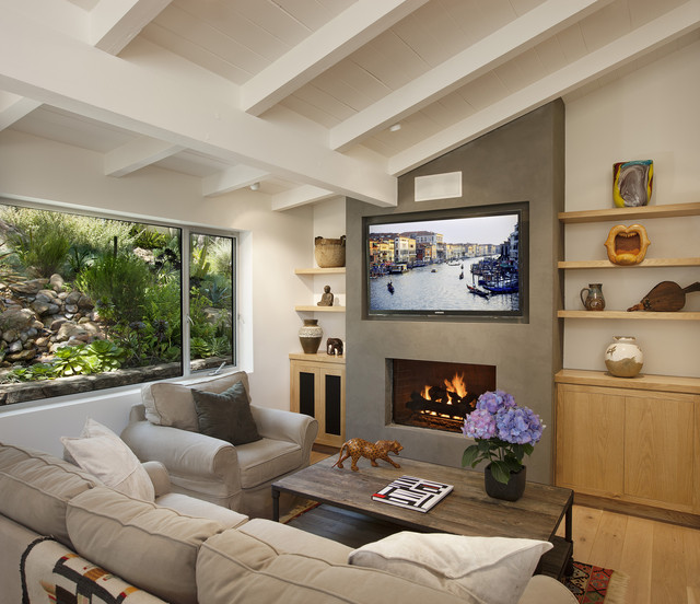 Las Canoas Remodel Fireplace Contemporary Family Room