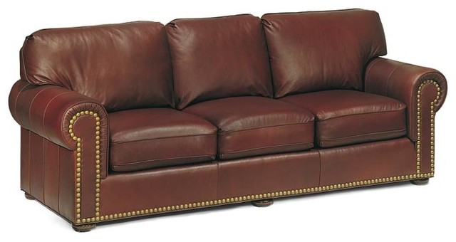 Leather sofa beds sleeper sofas traditional family room for Traditional leather sofa bed