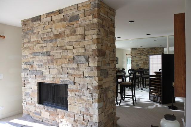 Ledge Stone Fireplace Album 3 - Traditional - Family Room - chicago - by North Star Stone