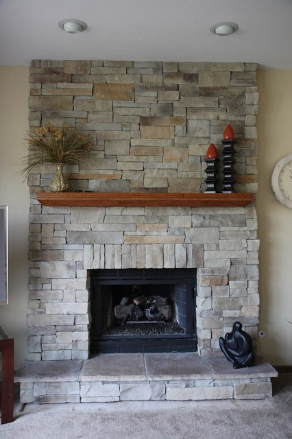 Ledge Stone Fireplace Album 3 Traditional Family Room