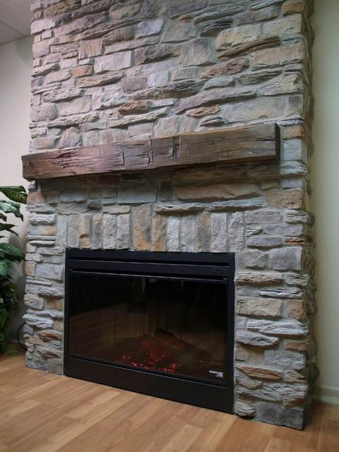 Ledge Stone Veneer Interior Fireplaces Contemporary Family Room