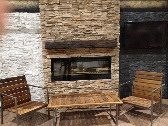 Ledge Stone Veneer Interior Fireplaces Contemporary