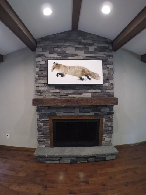 Ledgestone fireplace rustic family room philadelphia for Stonecraft fireplaces