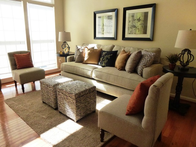 Leesburg, VA Townhome with Staged by Design's furniture package #2 contemporary-family-room