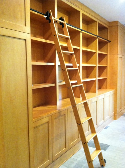 Library Cabinets with Rolling Library Ladder - Modern ...