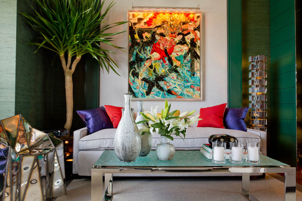 Example of a trendy family room design in New York with green walls