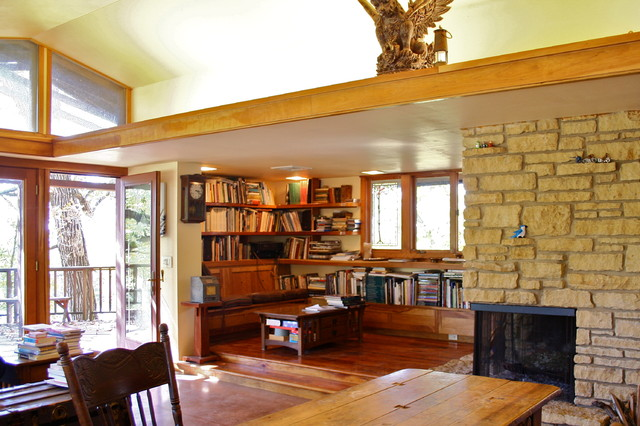 Library / Reading Nook With Raised Floor Contemporary Family Room