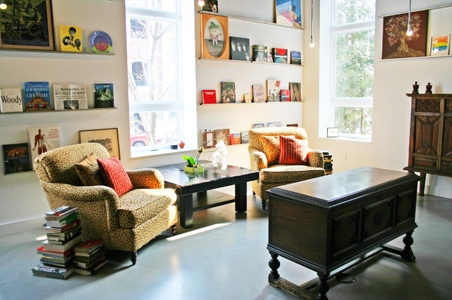 library eclectic-family-room