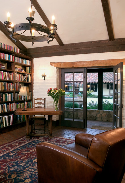Library mediterranean family room