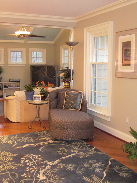 Library With Brazilian Cherry Floor And Area Rug Contemporary Family Room