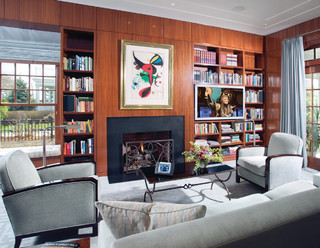 Library With Fireside Tv And Bookshelf Speakers
